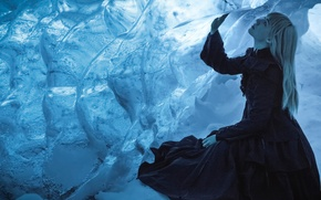 Обои pulse, пещера, девушка, холод, лёд