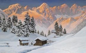 Картинка снег, пейзаж, горы, елка, Альпы, золотой, Alois Arnegger, .Зима