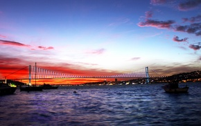 Картинка небо, закат, пролив, Стамбул, Турция, Istanbul, Turkey, Босфор, Босфорский мост