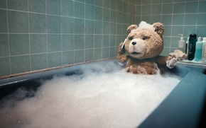 Обои купается, медведь, ванна, Третий лишний, Ted