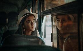 Картинка взгляд, отражение, обработка, девочка, шляпка