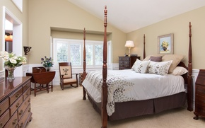 Картинка дизайн, стиль, кровать, подушки, спальня, комод