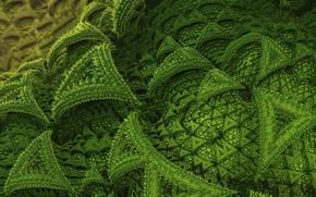 Обои рендер, узор, зелень, фон, абстракция