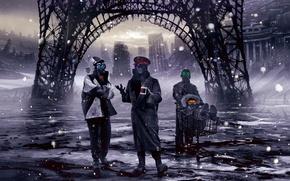 Картинка снег, город, арт, тачка, романтика апокалипсиса, romantically apocalyptic