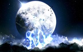 Обои небо, луна, мир