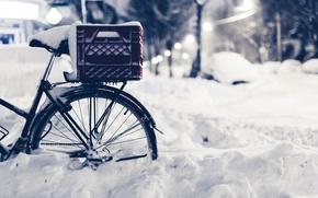 Картинка зима, дорога, макро, снег, природа, велосипед, улица, вечер