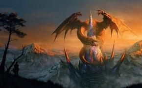 Обои люди, замок, скалы, дракон, дома, арт, крепость, пик, Randis Albion