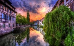 Картинка небо, облака, пейзаж, природа, город, реку, sunset.trees