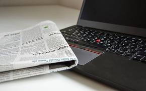 Обои газета, ноутбук, боке