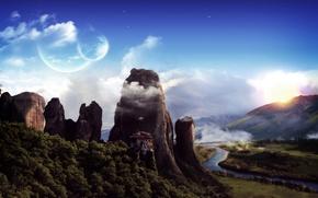 Картинка горы, планеты, монастырь