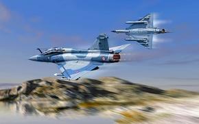Картинка арт, Dassault, ВВС Франции, Dassault Aviation, французский многоцелевой истребитель четвёртого поколения, Mirage 2000В