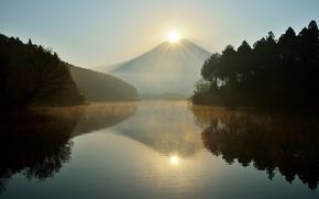 Картинка солнце, деревья, природа, озеро, Япония, гора Фудзияма