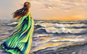 Картинка море, волны, небо, девушка, облака, волосы, спина, арт, ленточка, зеленое платье, ветор
