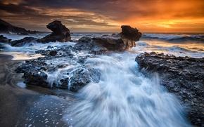 Картинка пляж, закат, скалы, Испания, Канарские острова, Атлантический океан