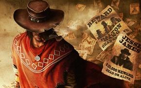 Картинка шляпа, бандиты, разбойники, Call of Juarez: The Gunslinger, ковбой, cowboy, медальон, сигара