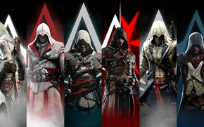 Картинка Assassin's Creed, Connor Kenway, Edward Kenway, Ezio Auditore, Arno Dorian, Shay Patrick Cormac, Altaïr Ibn …