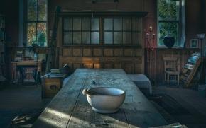 Картинка стол, комната, пестик, ступка