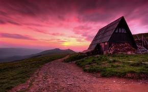 Картинка дорога, закат, горы, дом, Польша, сумерки, Полонина Ветлинска