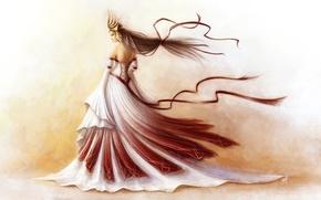 Картинка девушка, ленты, фон, ветер, корона, платье, арт