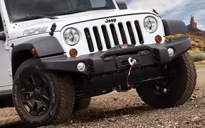 Jeep, Wrangler, Sahara, Белый, Передок, Колесо, Фары обои