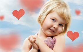 Обои дети, ребенок, сердца, девочка, милый, happy, hearts, child, cute, children, little girl, счастливая