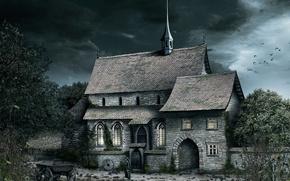 Картинка церковь, монашка, dark-art, Kloster der Ursulinen