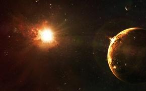 Обои солнце, звезды, планета, катастрофа