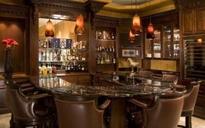 Картинка стулья, бар, ваза, напитки, design, bar, лампы.
