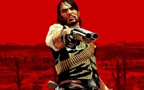 Картинка красное, герой, Red Dead Redemption, Джон Марстон