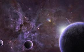 Обои восход, луны, планеты, космос, туманность