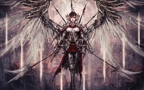 Картинка девушка, оружие, фантастика, крылья, ангел, арт