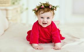 Картинка улыбка, ребенок, платье, девочка, венок, малышка, Smile, child, kid, Infants