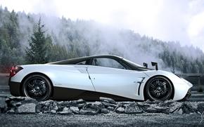Картинка Pagani, White, Side, Road, Supercar, Huayra, Fog, Forest