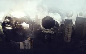 Картинка шары, стеклянные, небоскрёбы, постройки, Гопрод