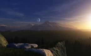 Обои лес, трава, свет, планета, Горы