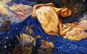 Картинка девушка, звезды, синий, сон, корабли
