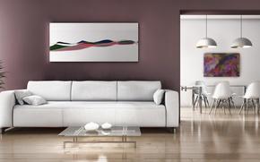 Картинка комната, стулья, картина, подушки, вазы, дива