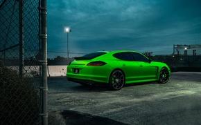 Картинка Porsche, Panamera, Car, Green, Wheels, Rear, Rides, Tined