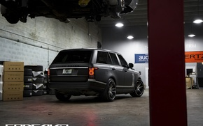 Картинка тюнинг, матовый, Range Rover, black, ракурс, Vogue, concavo