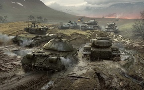 Обои WoT, T34, Мир Танков, ИС-3, Wargaming Net, T37, Bat.-Châtillon 25 t, FV215b, World of Tanks, ...