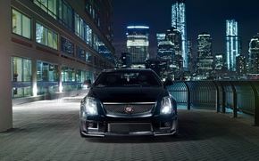 Картинка ночь, город, огни, чёрный, Cadillac, перед, black, CTS-V, кадилак
