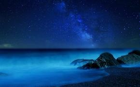 Картинка море, небо, звезды, ночь, туман, млечный путь