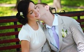 Обои пара, свадьба, поцелуй, девушка, природа, любовь