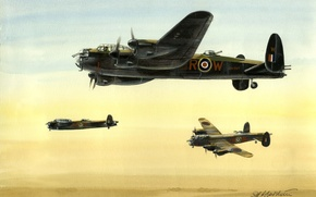 Картинка рисунок, арт, бомбардировщик, британский, тяжелый, четырехмоторный, Avro Lancaster