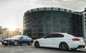 Картинка BMW, Тюнинг, Белая, Синяя, БМВ, white, Диски, blue, E92, Deep Concave