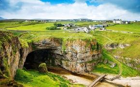 Обои зелень, шотландия, пейзаж, горы
