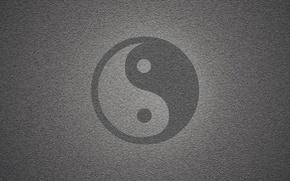 Картинка серый, фон, кубики, текстура, квадраты, ч/б, символ, инь-янь