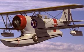 "Картинка рисунок, арт, американский, многоцелевой, WW2, Грумман J2F ""Дак"", Grumman J2F Duck, самолет-амфибия"