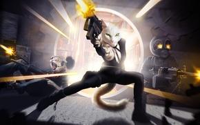 Обои оружие, арт, парни, битва, кошечка, девушка, кошки, фантастика, стельба, автомат