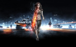 Картинка девушка, оружие, армия, солдат, battlefiled